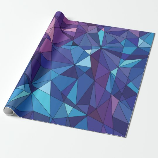 Abstract blue purple polygonal design wrapping paper