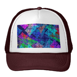 Abstract Blue Red And Green Fractal Art Mesh Hat