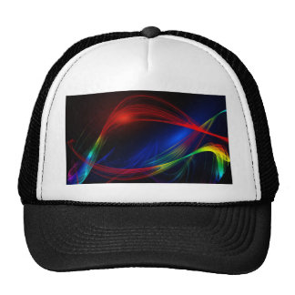 Abstract Blue Red and Green Swirl Effect Trucker Hats