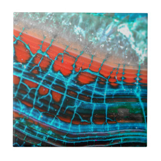 Abstract Blue Red Dragon Vein Agate Skin Sea Tile