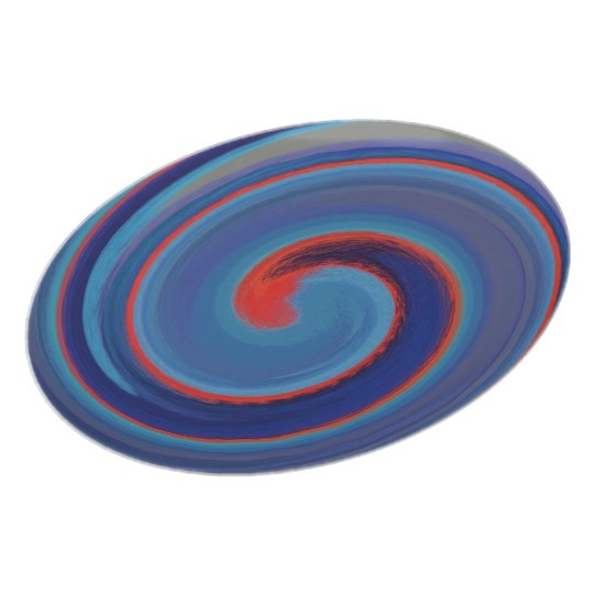 Abstract Blue Red Swirl Pattern Plate