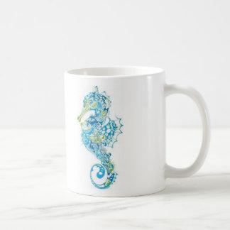 Abstract Blue Seahorse Coffee Mug