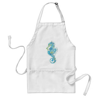 Abstract Blue Seahorse Standard Apron