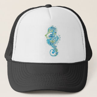 Abstract Blue Seahorse Trucker Hat