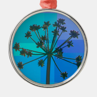 Abstract Blue SeedPod Silver-Colored Round Decoration
