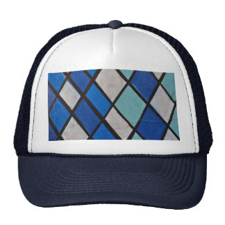 abstract blue shapes pattern cap