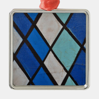abstract blue shapes pattern Silver-Colored square decoration