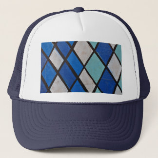 abstract blue shapes pattern trucker hat