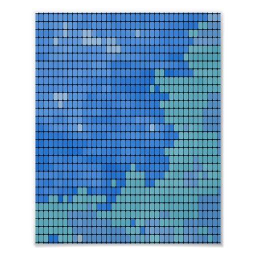 Abstract Blue Square Pattern Photograph