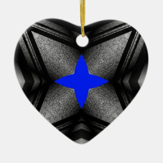 Abstract Blue Star Ceramic Heart Decoration