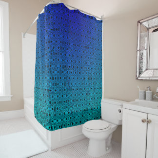 Abstract Blue to Turquoise Shower Curtain