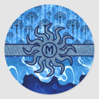 Abstract Blue Trees Sun Earth Ocean Waves Mosaic Round Sticker