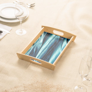 Abstract Blue Water Waves Serving Tray