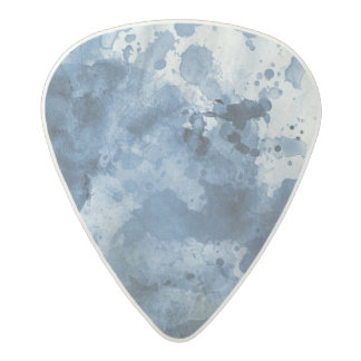 Abstract blue watercolor background acetal guitar pick