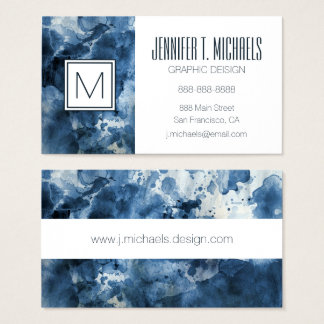 Abstract blue watercolor background business card