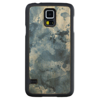 Abstract blue watercolor background carved maple galaxy s5 case
