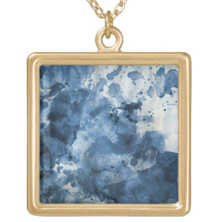Abstract blue watercolor background gold plated necklace
