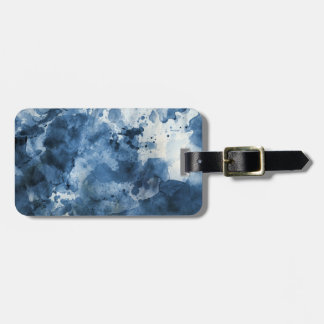 Abstract blue watercolor background luggage tag