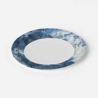 Abstract blue watercolor background paper plate