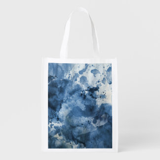 Abstract blue watercolor background reusable grocery bag