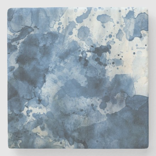 Abstract blue watercolor background stone coaster