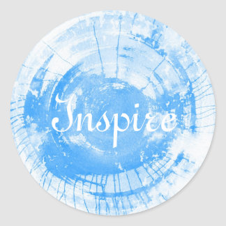 Abstract blue watercolor background, texture. classic round sticker