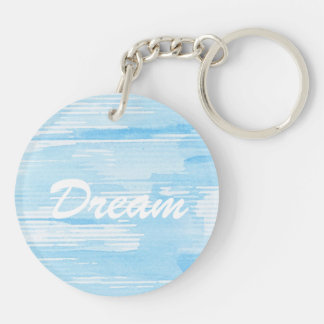 Abstract blue watercolor background, texture. key ring