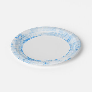 Abstract blue watercolor background, texture. paper plate