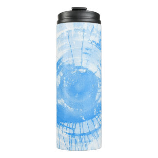 Abstract blue watercolor background, texture. thermal tumbler