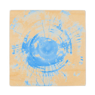 Abstract blue watercolor background, texture. wood coaster
