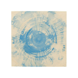Abstract blue watercolor background, texture. wood print
