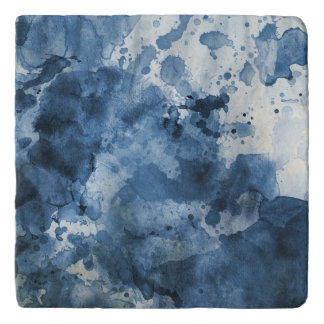 Abstract blue watercolor background trivet