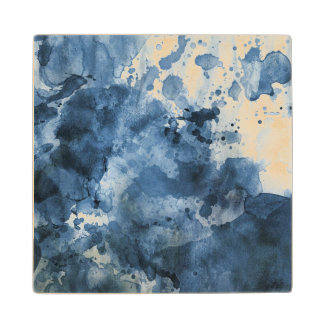 Abstract blue watercolor background wood coaster