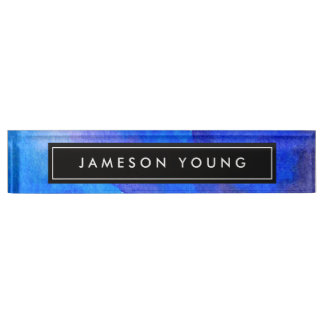 Abstract Blue Watercolor Desk Nameplate