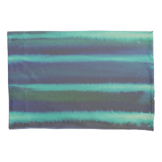 Abstract Blue Watercolor Stripes Pillowcase