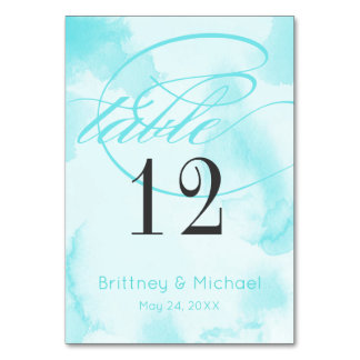 Abstract Blue Watercolor | Table Cards