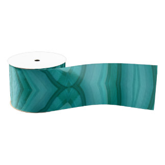 Abstract Blue Wood Pattern Grosgrain Ribbon