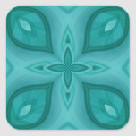 Abstract Blue Wood Pattern Square Stickers