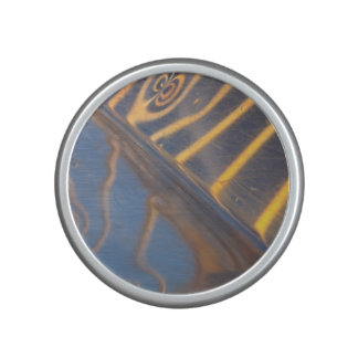 abstract blue, yellow and silver metal reflection bluetooth speaker