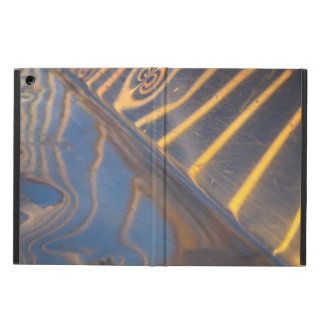 abstract blue, yellow and silver metal reflection case for iPad air