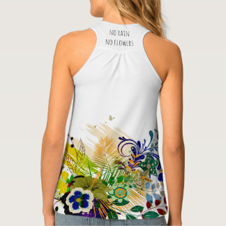 Abstract Blue Yellow Green Floral Floral Pattern Tank Top