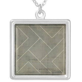Abstract Blueprint with Geometric Shapes Silver Plated Necklace