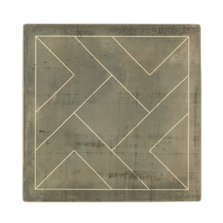Abstract Blueprint with Geometric Shapes Wood Coaster