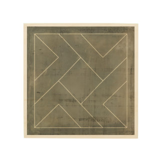 Abstract Blueprint with Geometric Shapes Wood Print