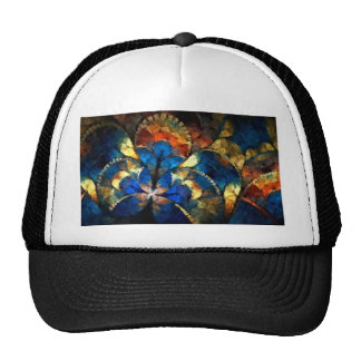 abstract blues and gold hat