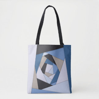 Abstract Blues Geometric Layers Tote Bag