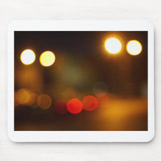 Abstract blurred night scene on city road mouse pad