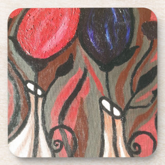ABSTRACT BOLD TULIPS BEVERAGE COASTER