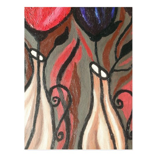 ABSTRACT BOLD TULIPS POSTCARD