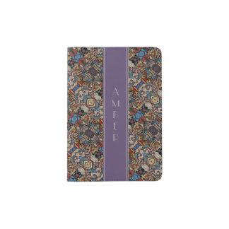 Abstract Border With Purple & Gray Custom Name Passport Holder
